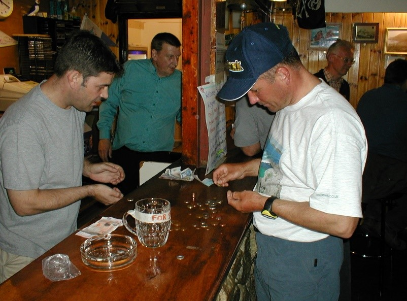 counting the pennies raised in the Puff Inn