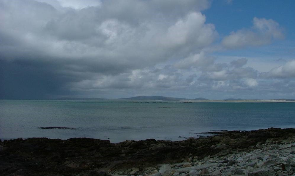 heavy showers all around me, approaching North Uist