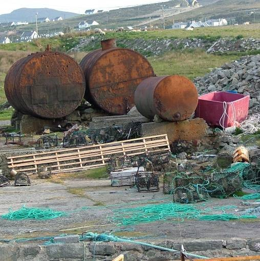 tanks used for storing shark oil, Achill Island